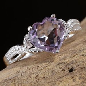 Rose De France Amethyst Heart Sterling Silver Ring